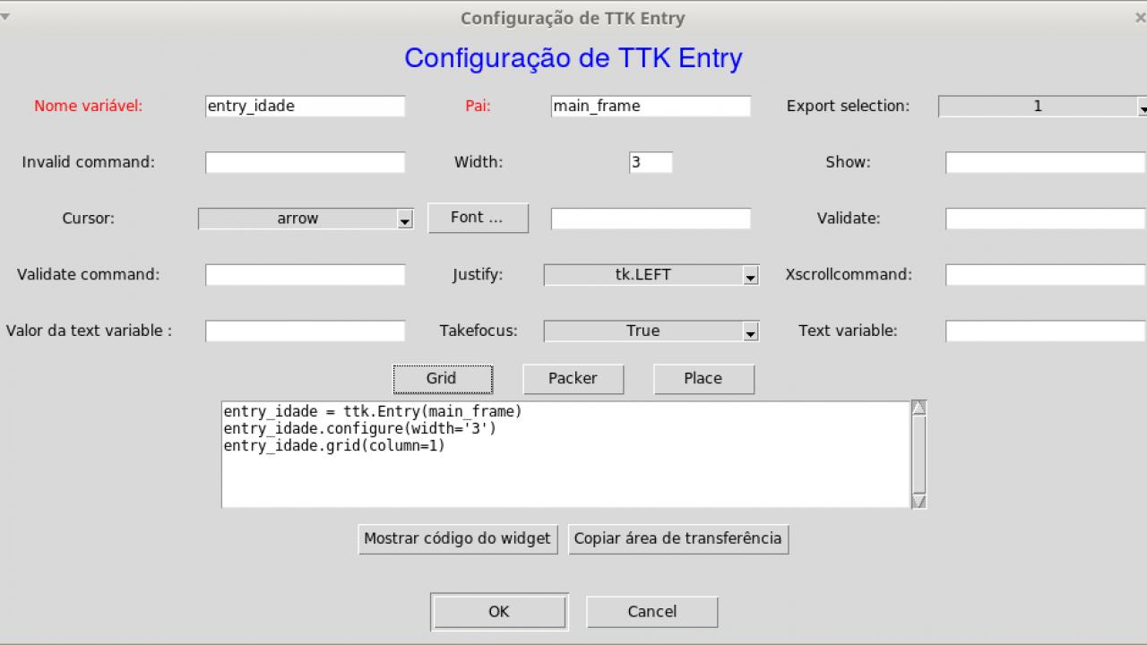 Widget ttk Entry no Sprintpy - Caderno de Laboratório